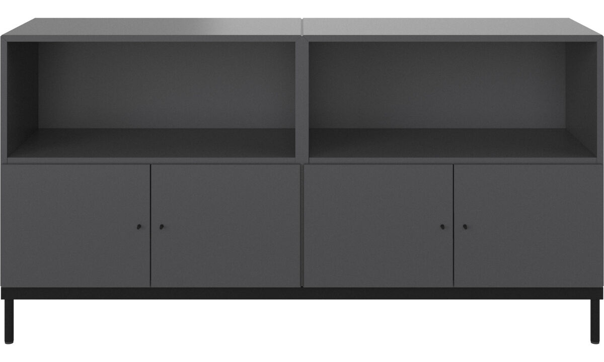 Wall systems - Atlanta base cabinet with doors and bookcase - Grey - Lacquered
