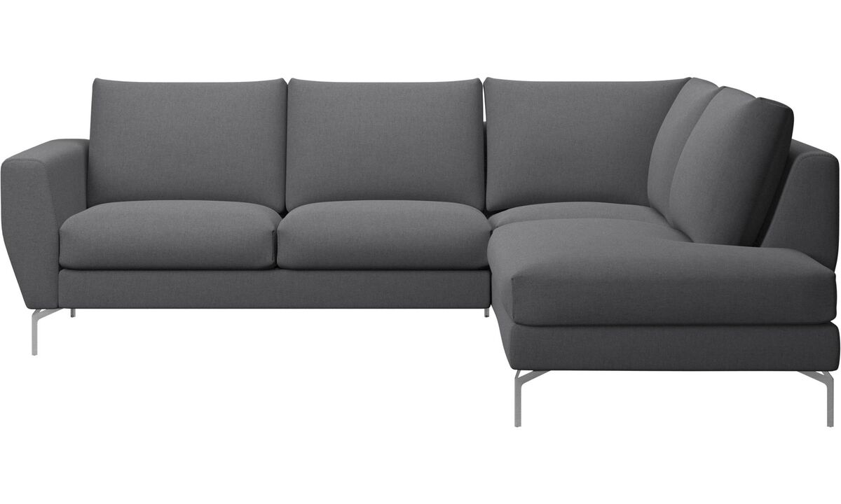 Corner sofas - Nice corner sofa with lounging units - Grey - Fabric
