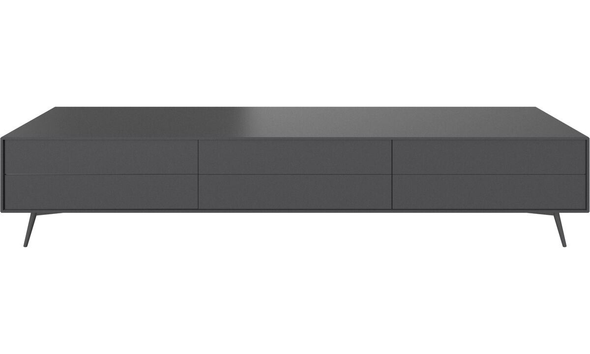 Tv units - Fermo media unit - Grey - Lacquered