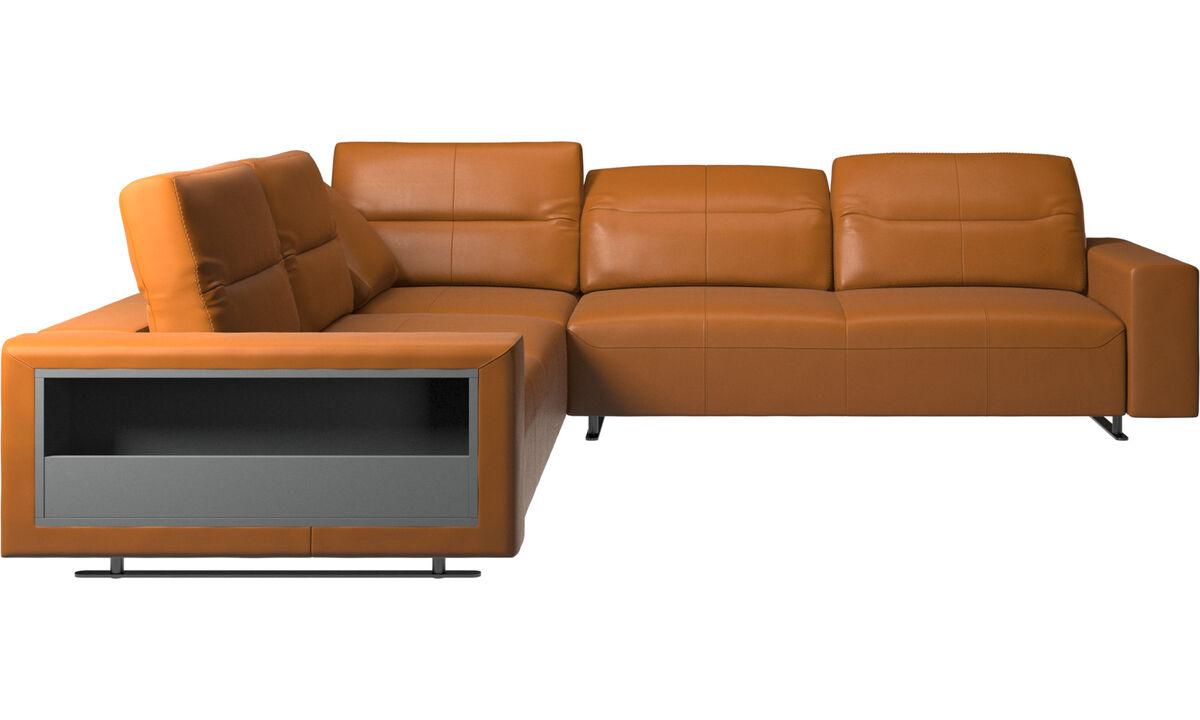 Corner sofas - Hampton corner sofa with adjustable back and storage - Brown - Leather
