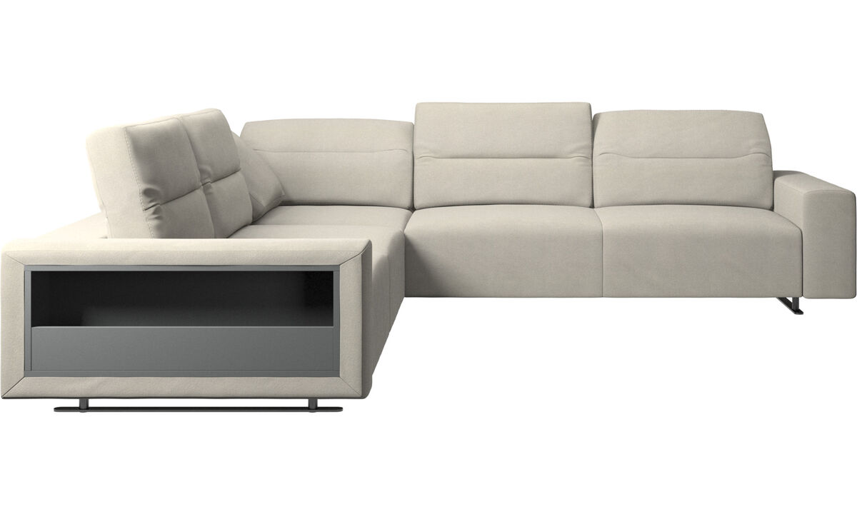 Corner sofas - Hampton corner sofa with adjustable back and storage - White - Fabric