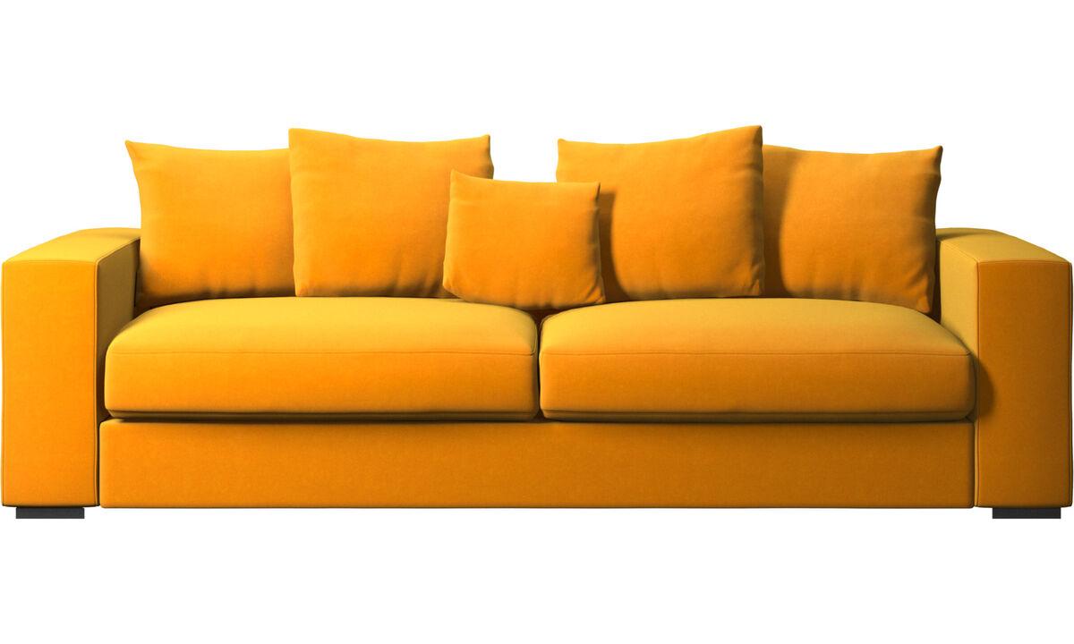 Sofás de 3 plazas - sofá Cenova - Naranja - Tela