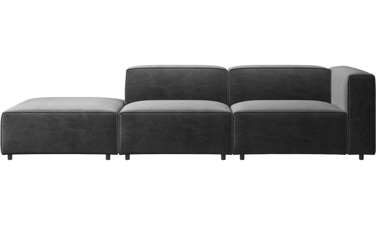 Sofas with open end - Carmo sofa with lounging unit - Gray - Fabric