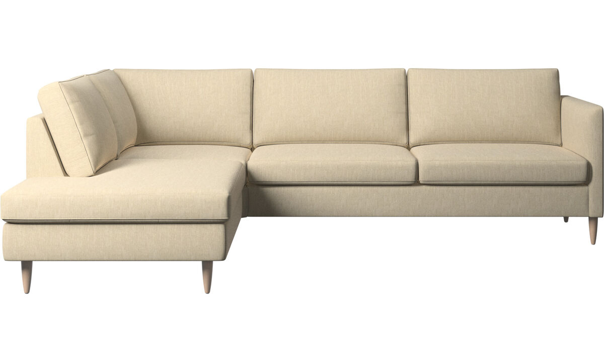 Sofas with open end - Indivi corner sofa with lounging unit - Brown - Fabric