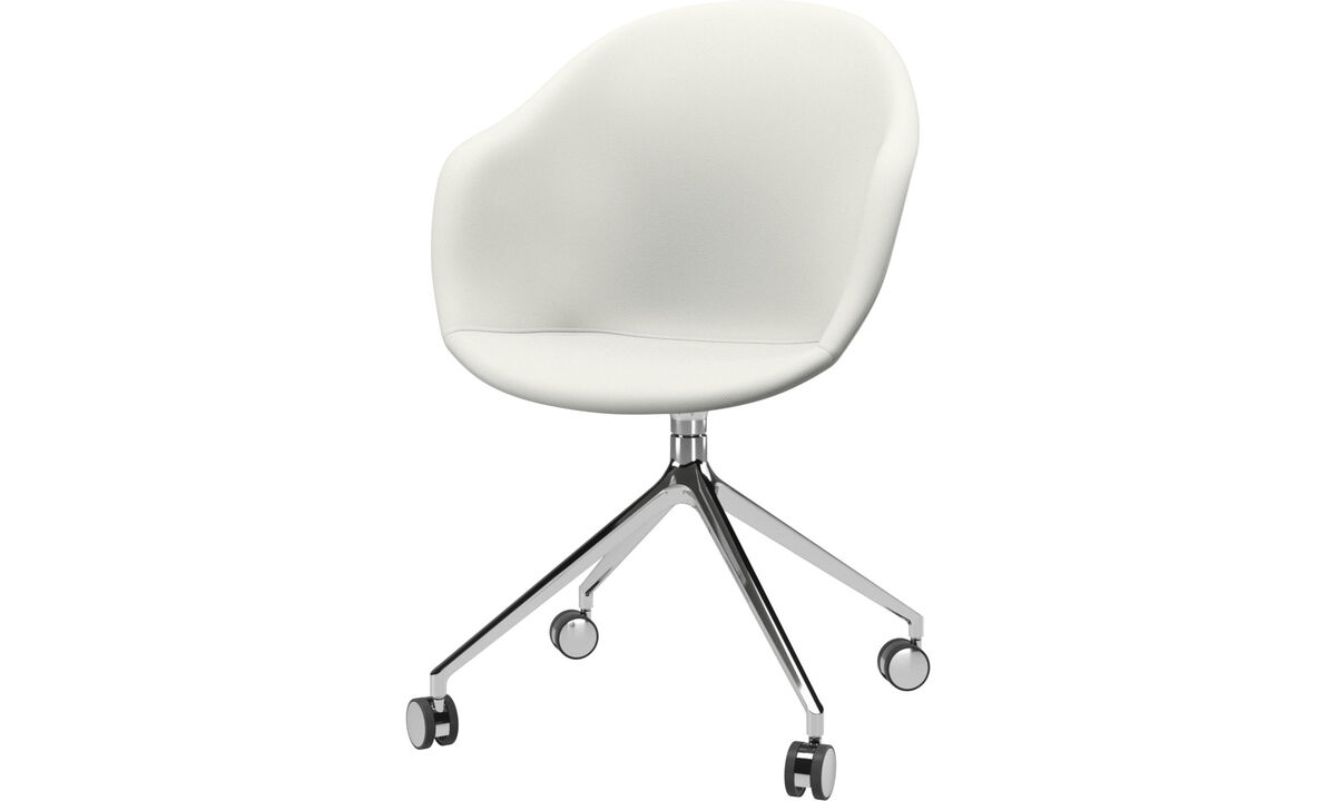 Home office chairs - Adelaide chair with swivel function and wheels - White - Leather