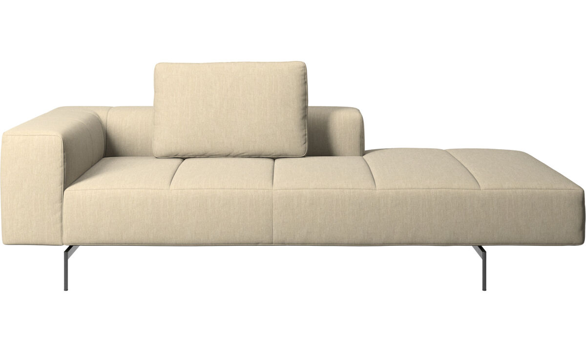 Chaise lounge sofas - Amsterdam Iounging module for sofa, armrest left, open end right - Brown - Fabric
