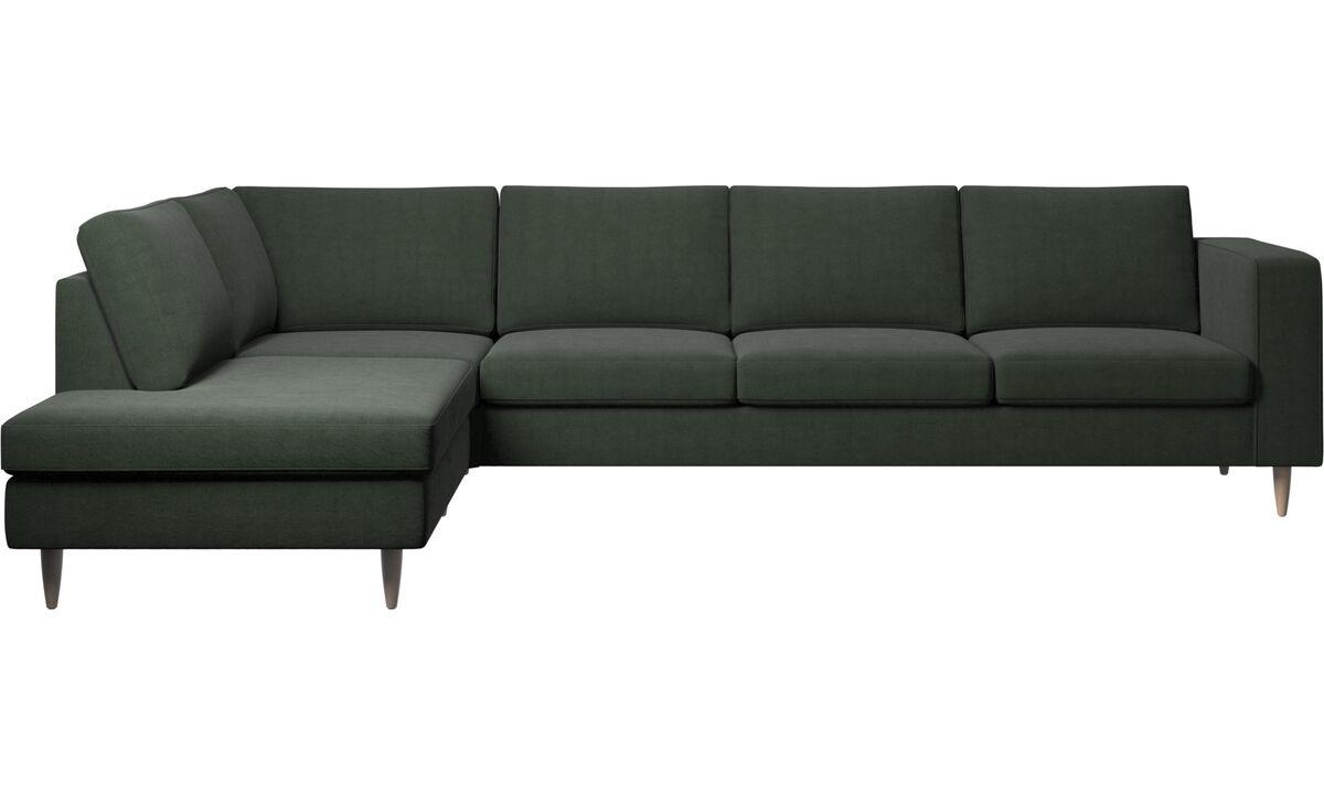 Sofás con lado abierto - sofá esquinero Indivi con módulo de descanso - En verde - Tela
