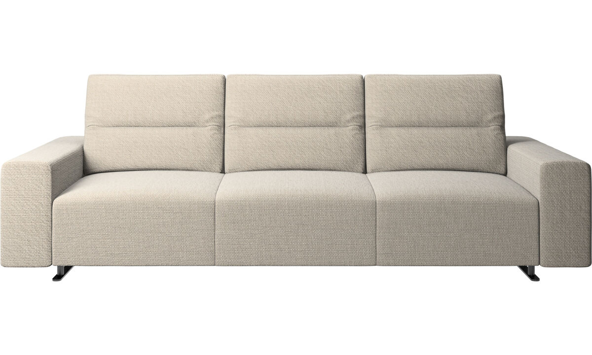 3 seater sofas - Hampton sofa with adjustable back and storage on the right side - Beige - Fabric