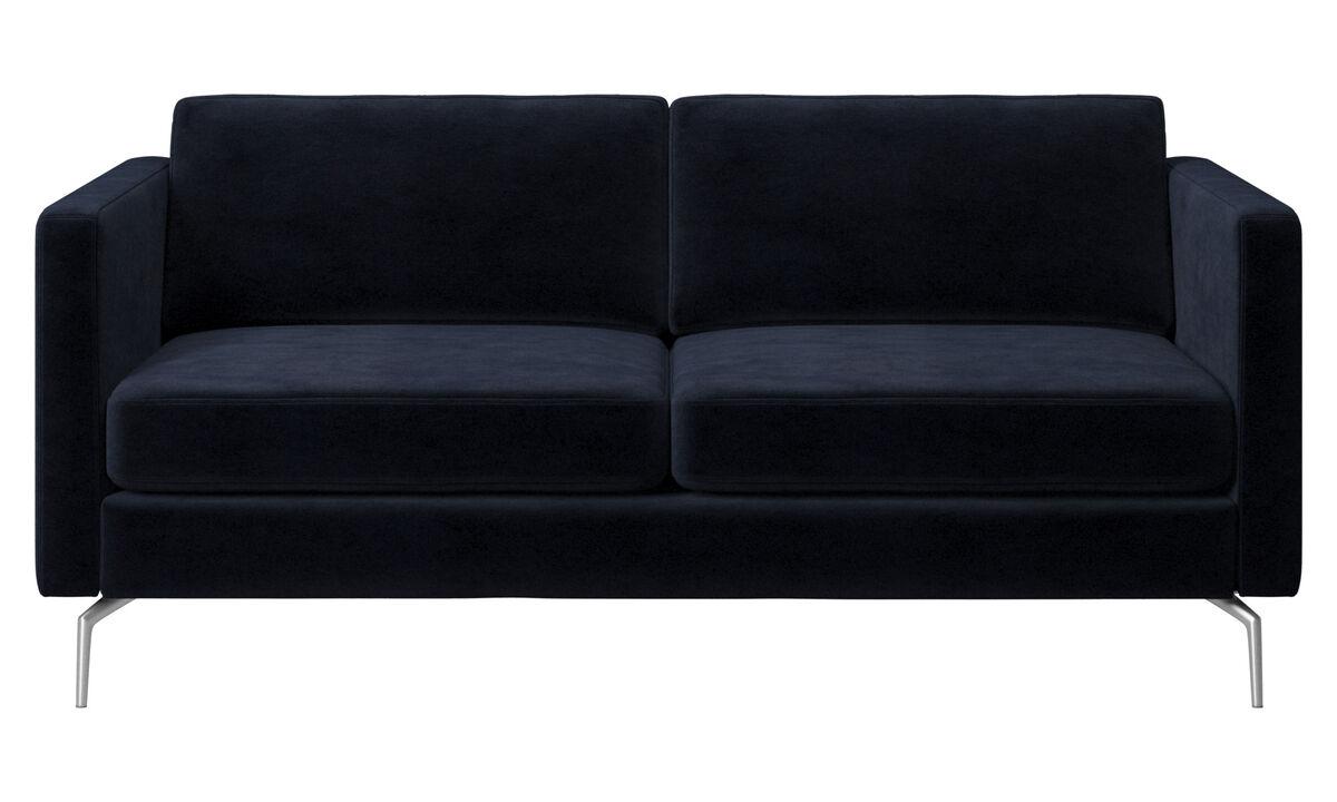 Sofás de 2 plazas - sofá Osaka, asiento regular - En azul - Tela