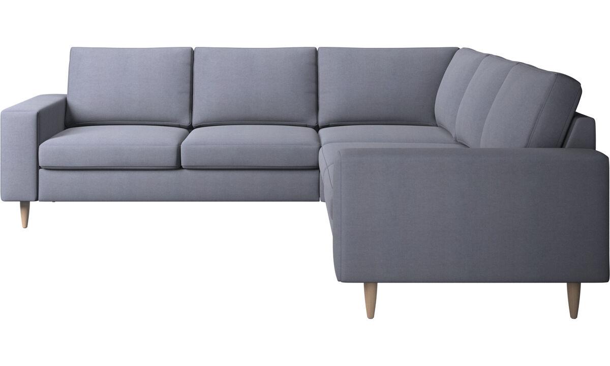 Sofás esquineros - sofá esquinero Indivi - En azul - Tela