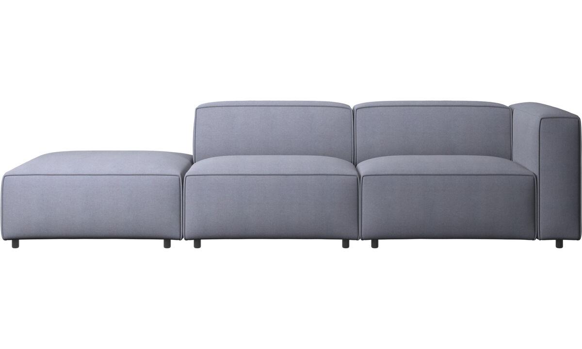 Sofás modulares - Sofá Carmo con módulo de descanso - En azul - Tela