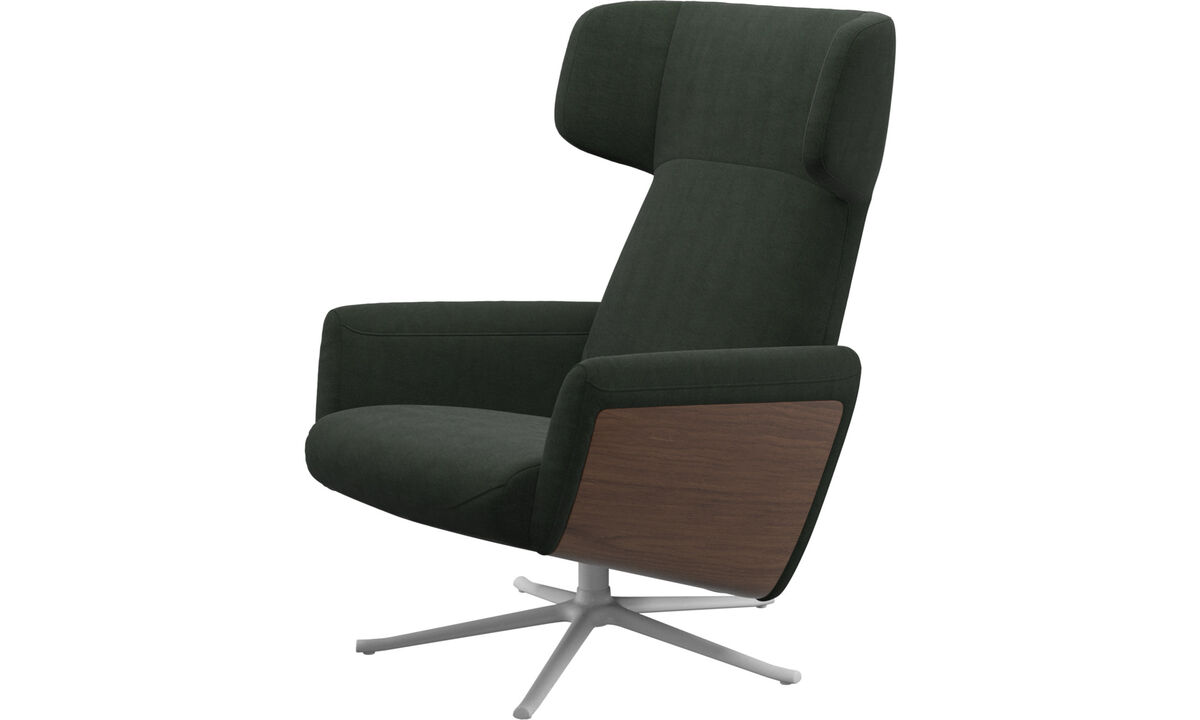 Recliners - Lucca wing recliner with swivel function - Green - Fabric