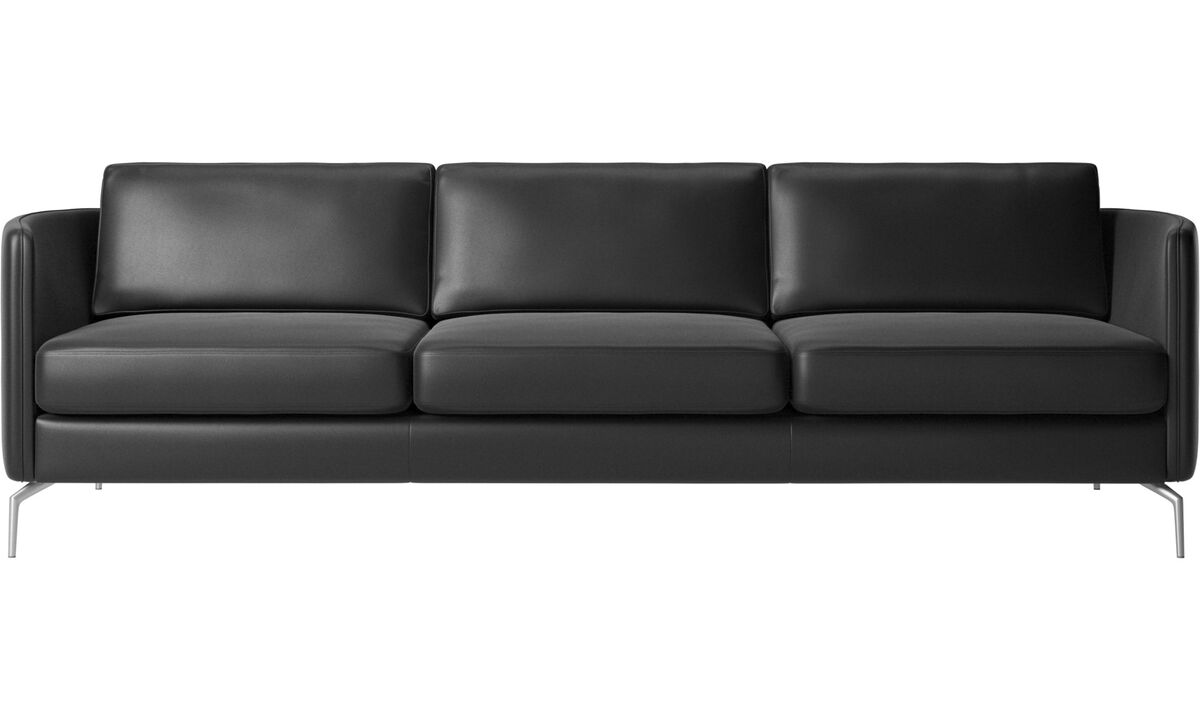 Sofás de 3 plazas - Sofá Osaka, asiento regular - En negro - Piel