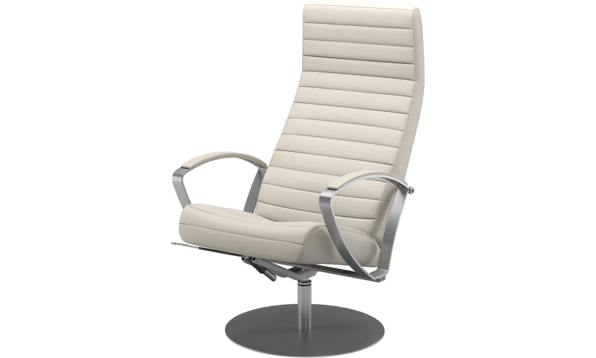 Armchairs - Wing recliner with swivel function - White - Leather