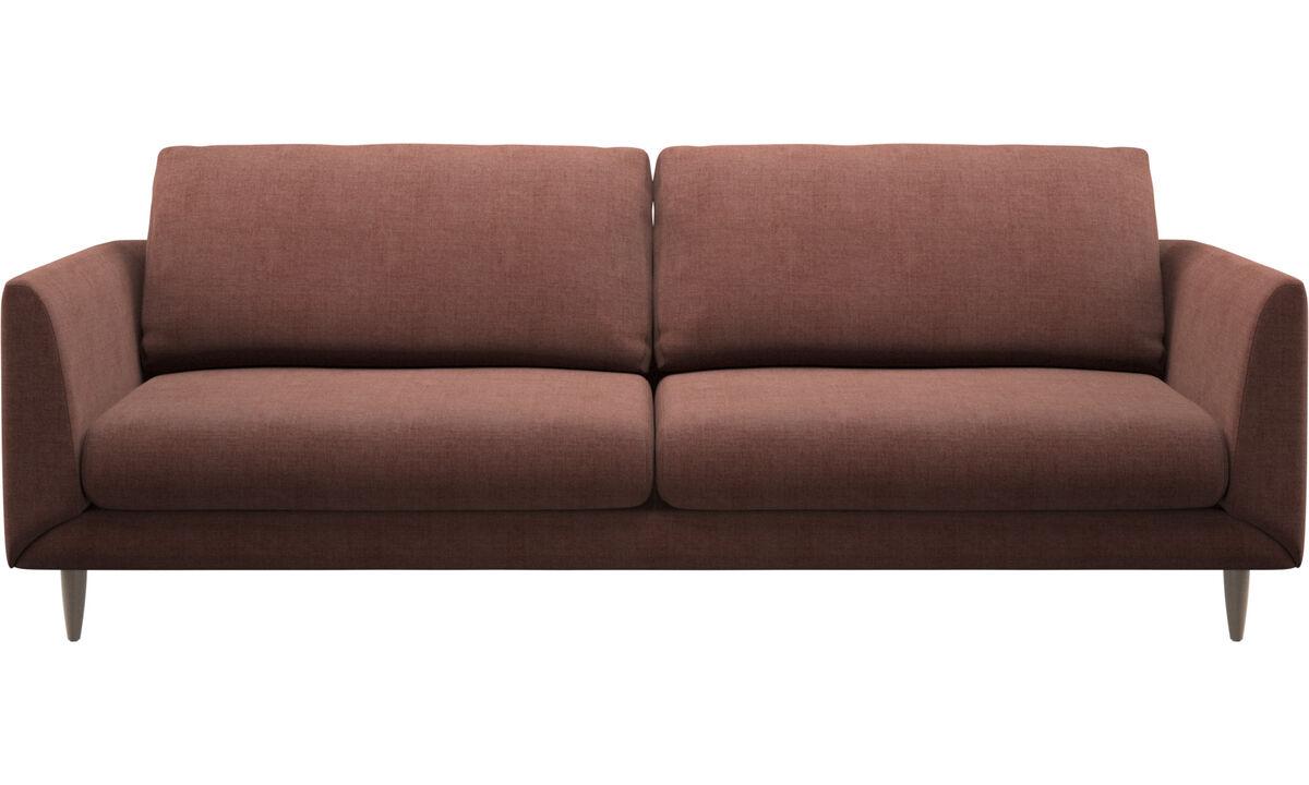 Sofás de 3 plazas - sofá Fargo - Rojo - Tela