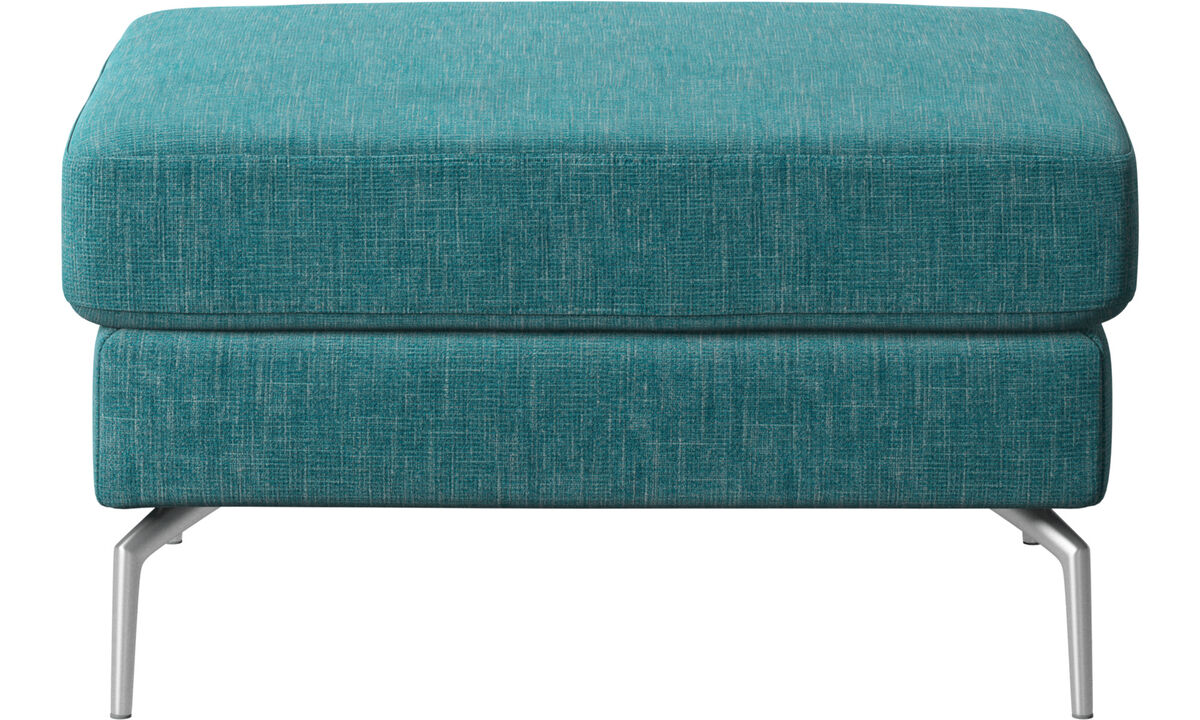 Armchairs and footstools - Osaka footstool, tufted seat - Blue - Fabric
