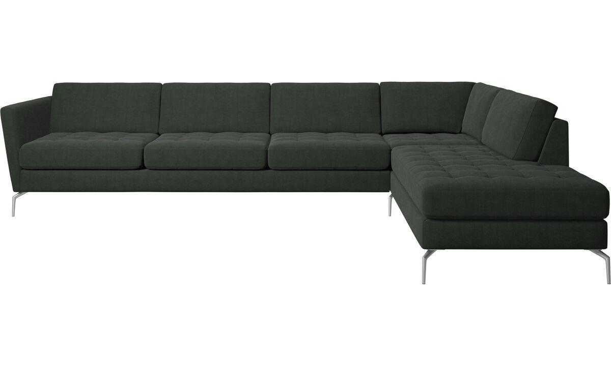 Sofás con lado abierto - sofá esquinero Osaka con módulo de descanso, asiento en capitoné - En verde - Tela