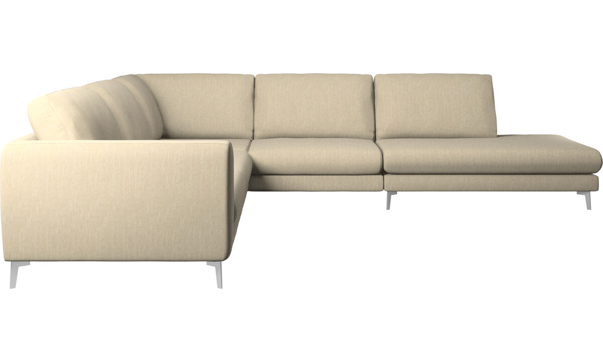 Sofas with open end - Fargo corner sofa with lounging unit - Brown - Fabric