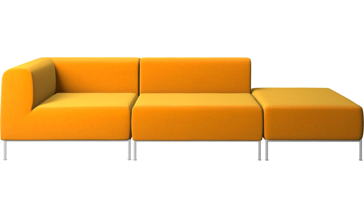 Modular sofas - Miami sofa with footstool on right side - Orange - Fabric