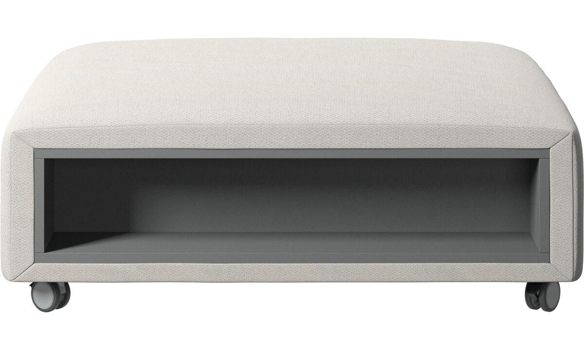 Pufs - Puf con ruedas Hampton con almacenamiento en lados derecho e izquierdo - Blanco - Tela