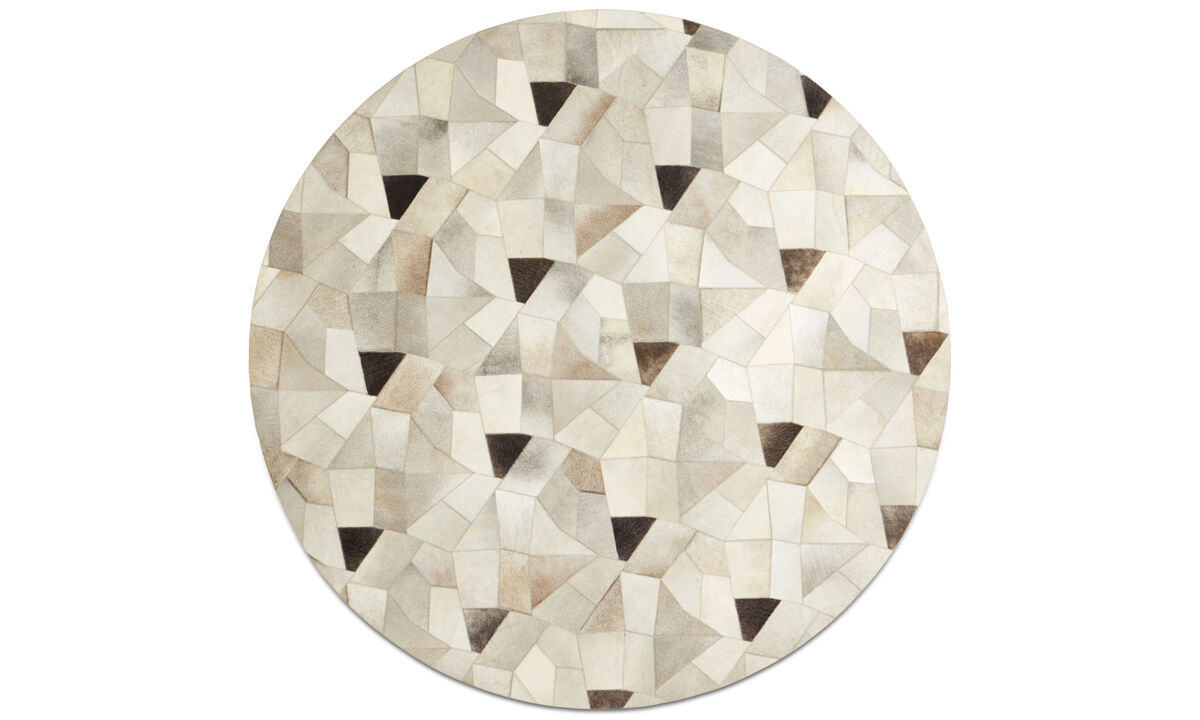 Leather rugs - Disc rug - round - Grey - Leather