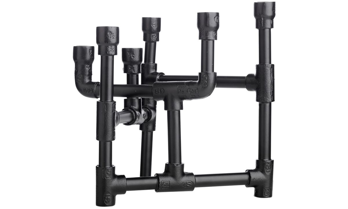 Candle holders - Industrial 6-armed candelabra - Black - Metal