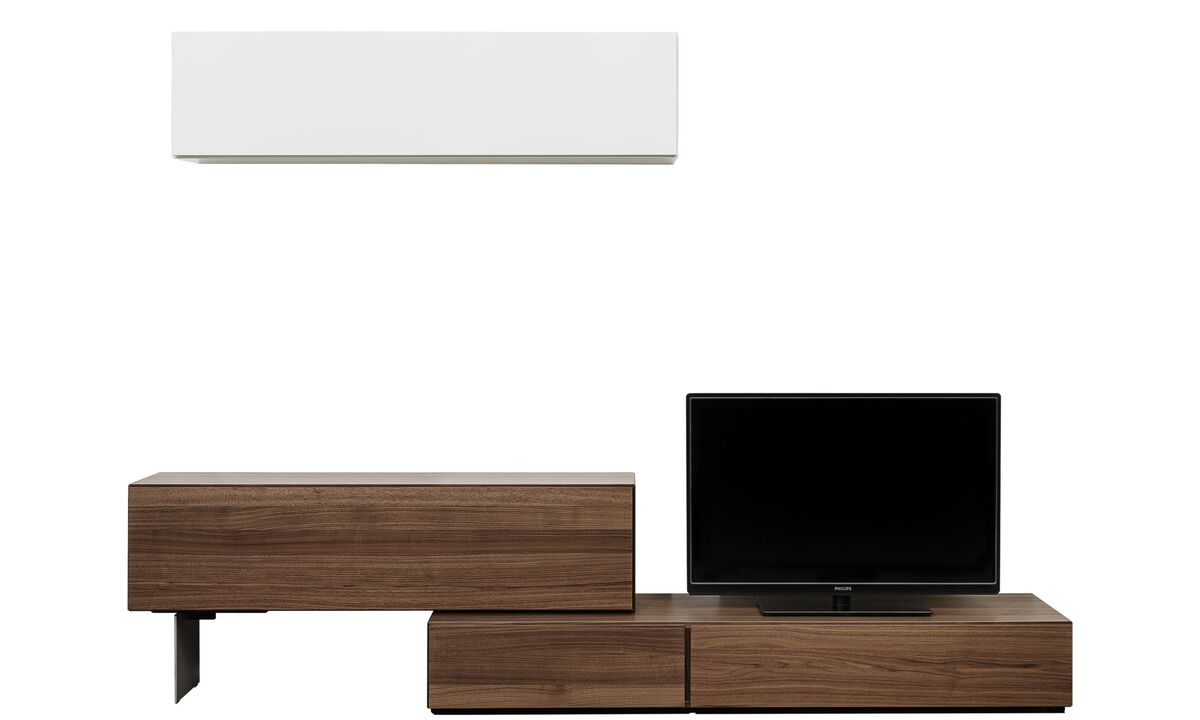 Wall Units - Lugano wall system with drop down doors - Brown - Walnut