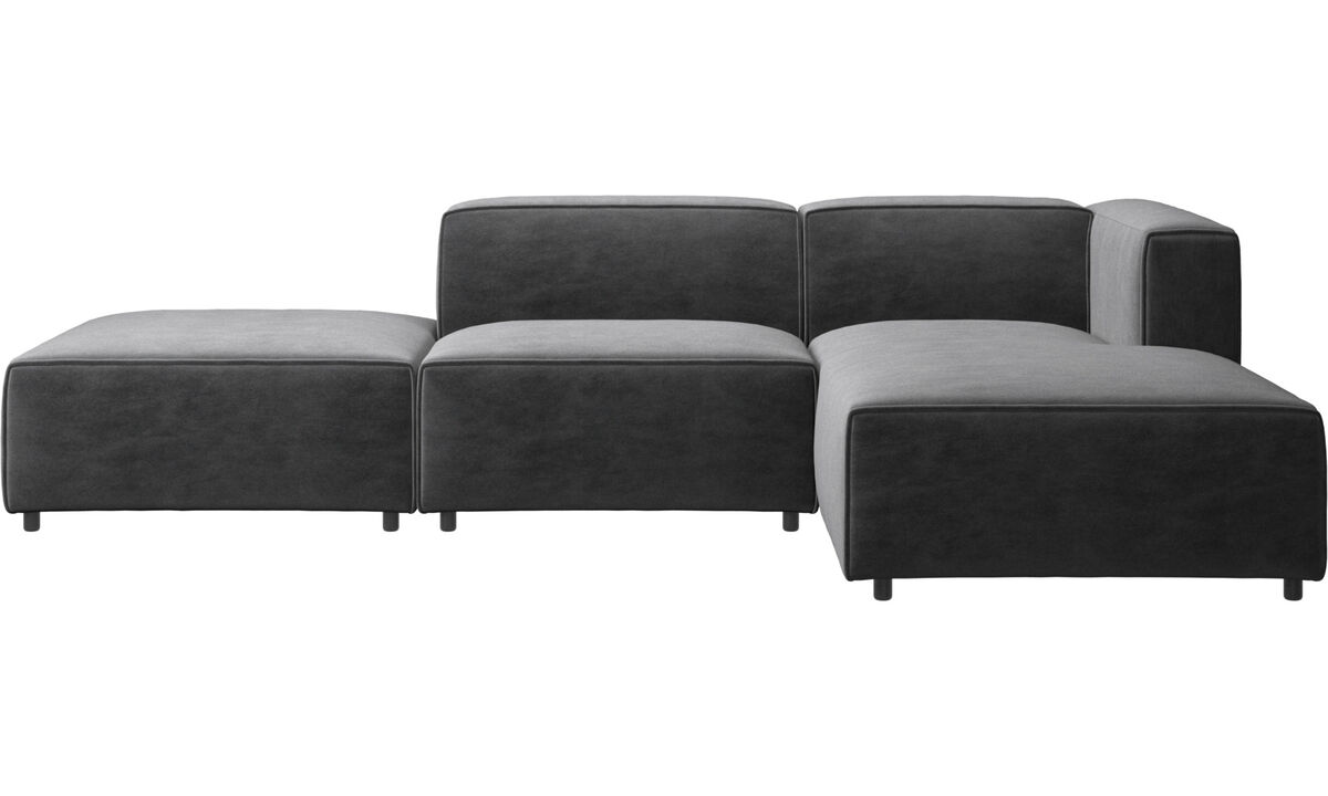 Chaise lounge sofas - Carmo sofa with resting unit - Gray - Fabric