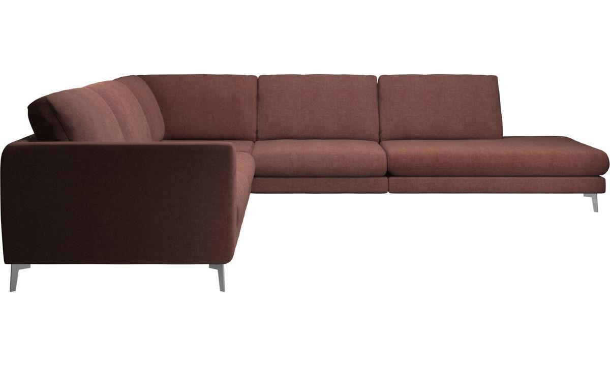 Sofás con lado abierto - sofá esquinero Fargo con módulo de descanso - Rojo - Tela