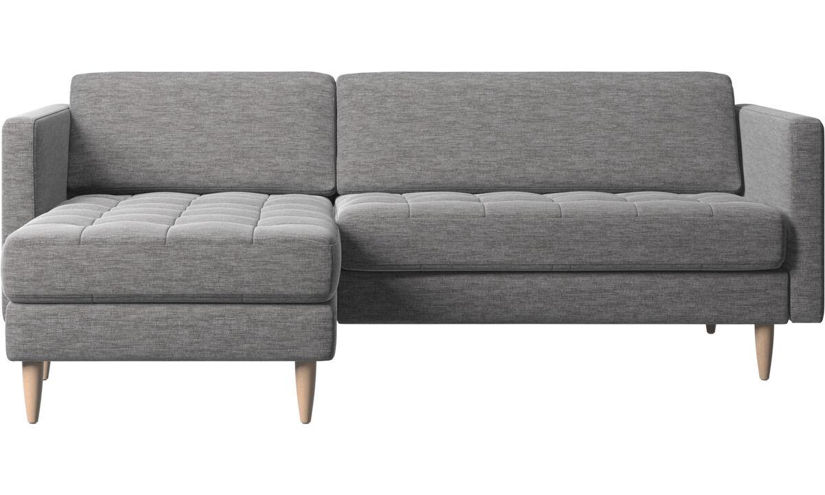 Sofas mit Récamiere - Osaka Sofa mit Ruhemodul, getuftete Sitzfläche - Grau - Stoff