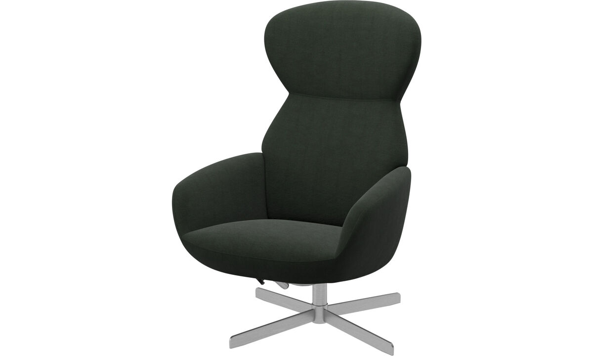 Butacas reclinables - Butaca Athena con respaldo reclinable y base giratoria - En verde - Tela
