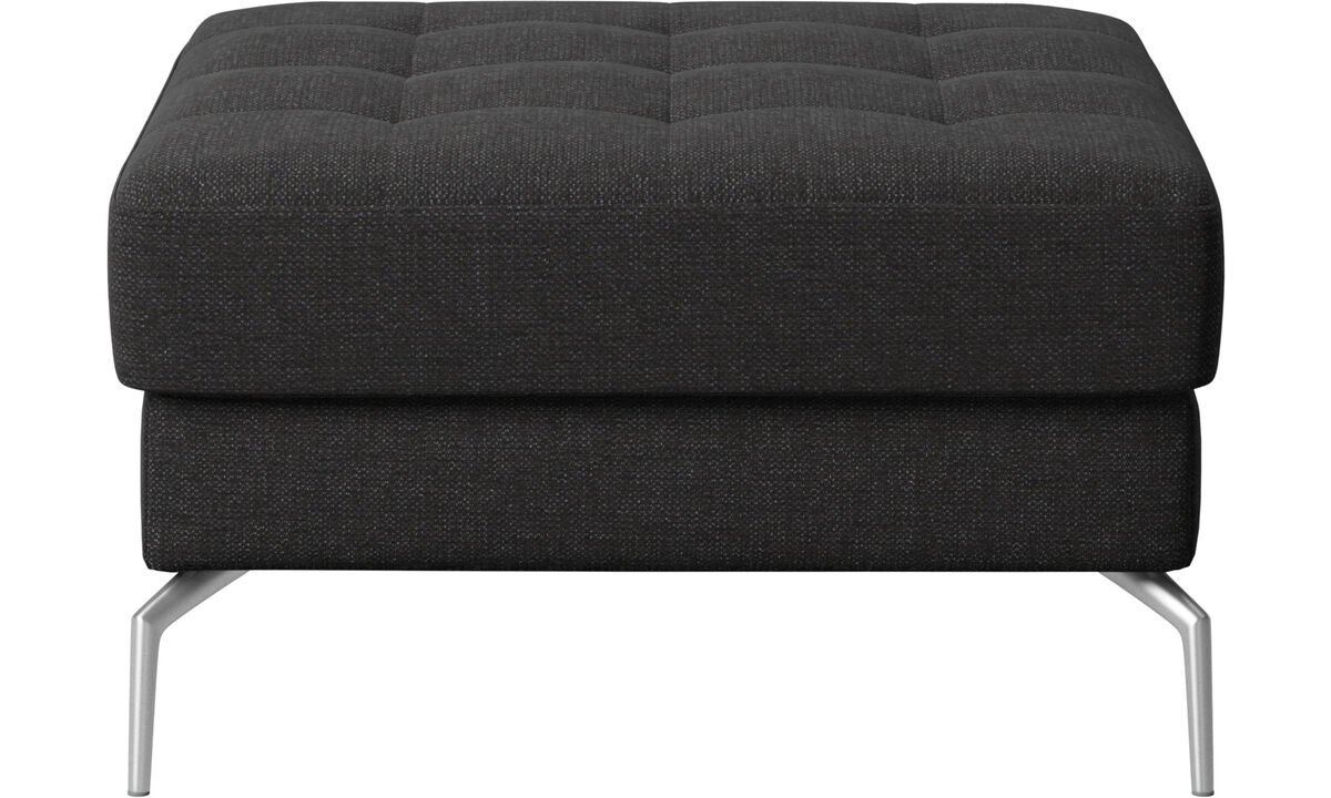 Footstools - Osaka footstool, tufted seat - Black - Fabric