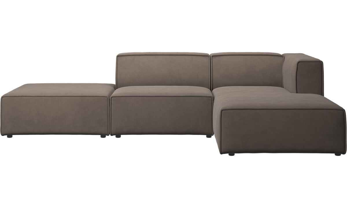Chaise lounge sofas - Carmo sofa with resting unit - Gray - Leather