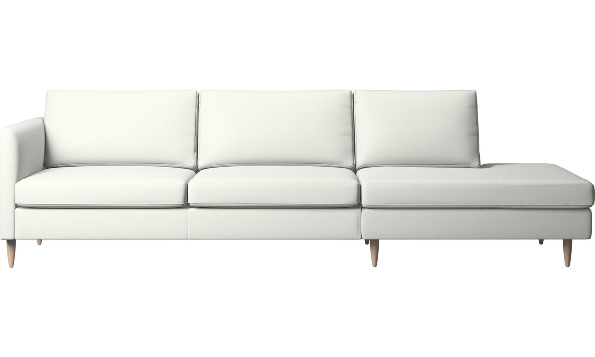 Sofas with open end - Indivi sofa with lounging unit - White - Leather
