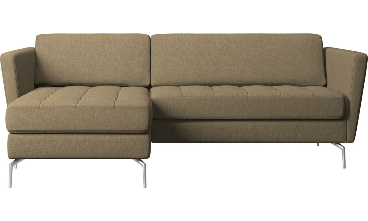 Chaise longue sofas - Osaka divano con penisola relax, seduta trapuntata - Verde - Tessuto