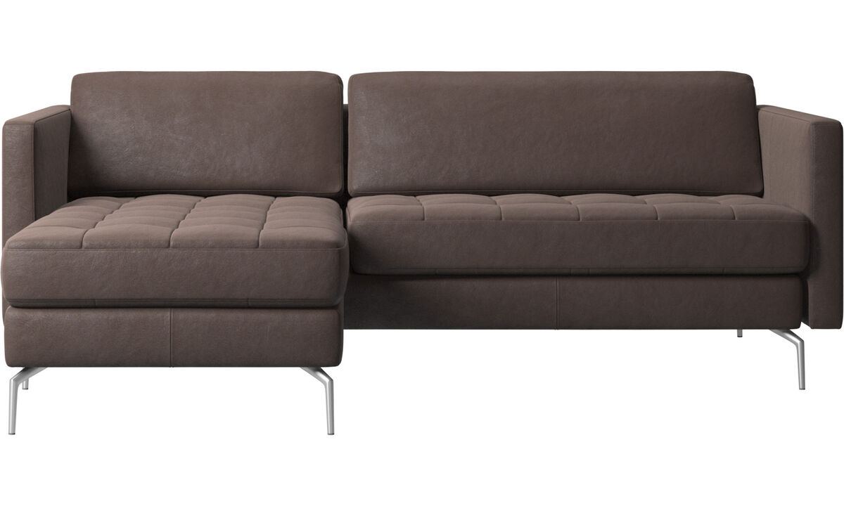 Chaise lounge sofas - Osaka sofa with resting unit, tufted seat - Brown - Leather
