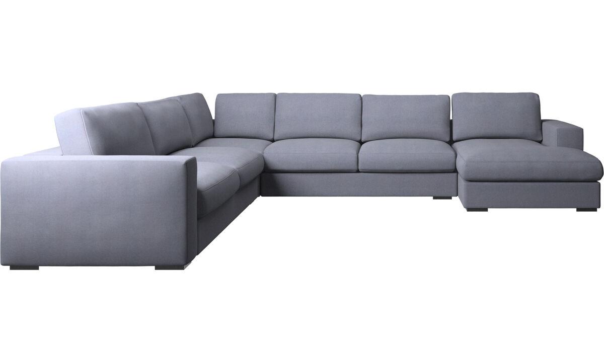 Corner sofas - Cenova corner sofa with resting unit - Blue - Fabric