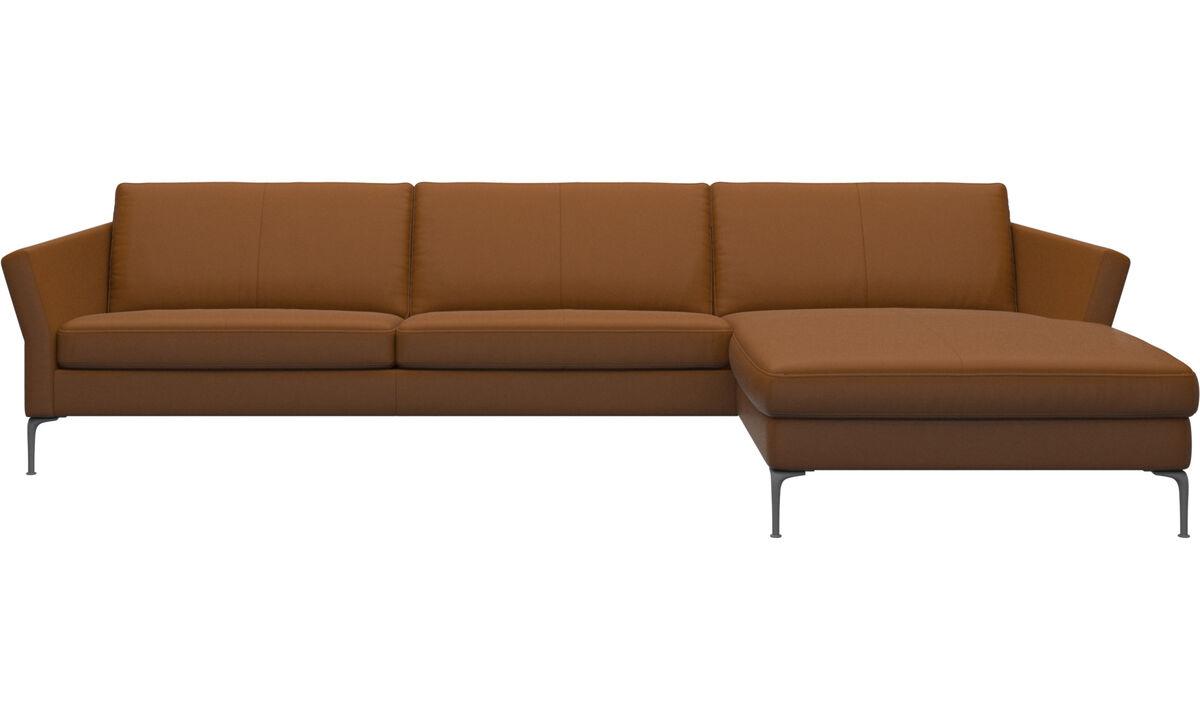 Sofás com chaise - sofá Marseille com módulo chaise-longue - Castanho - Pele