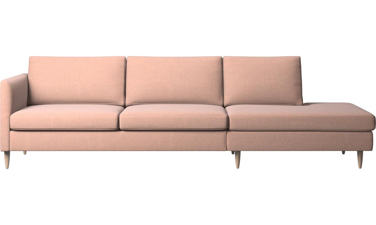 Banken met lounge element - Indivi zitbank met relaxelement - Rood - Stof