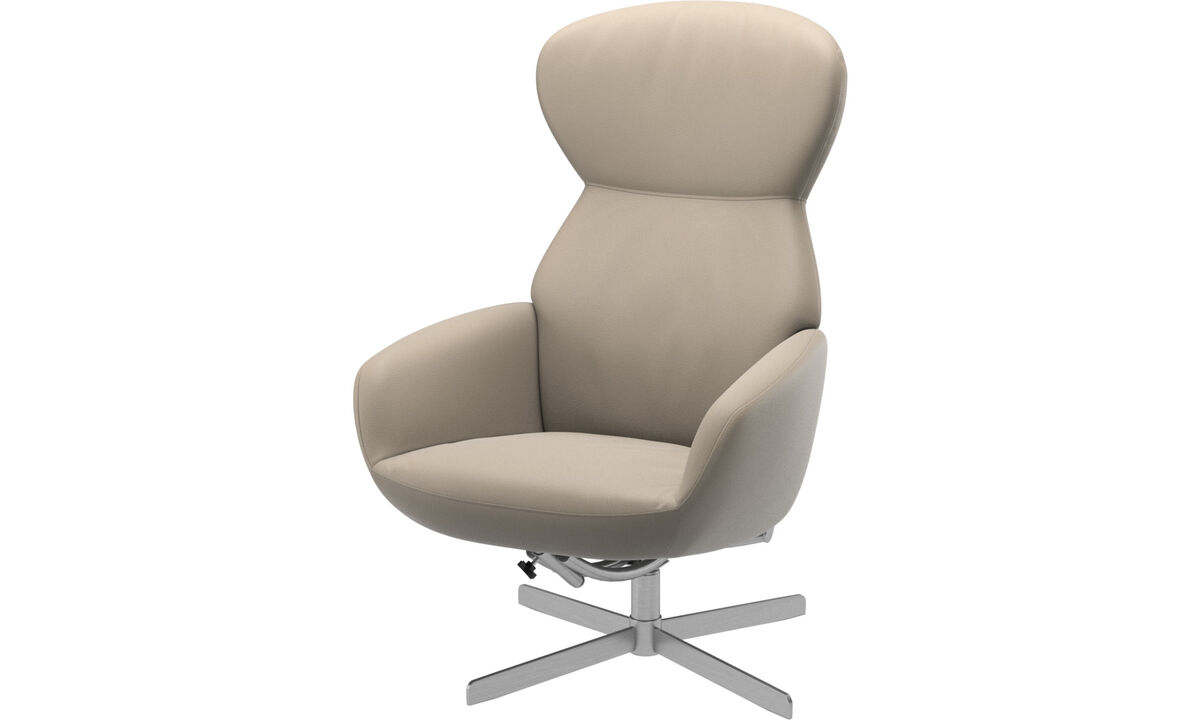 Armchairs - Athena chair with reclining back function and swivel base - Beige - Leather