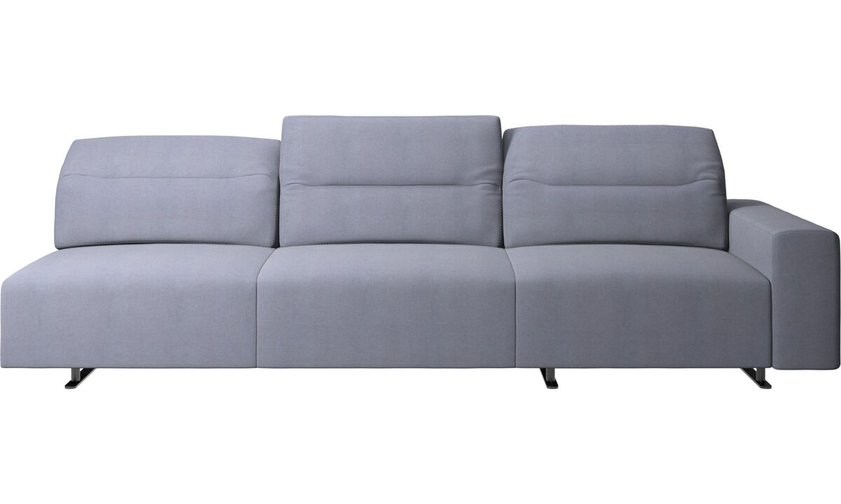3 seater sofas - Hampton sofa with adjustable back and storage on the right side - Blue - Fabric