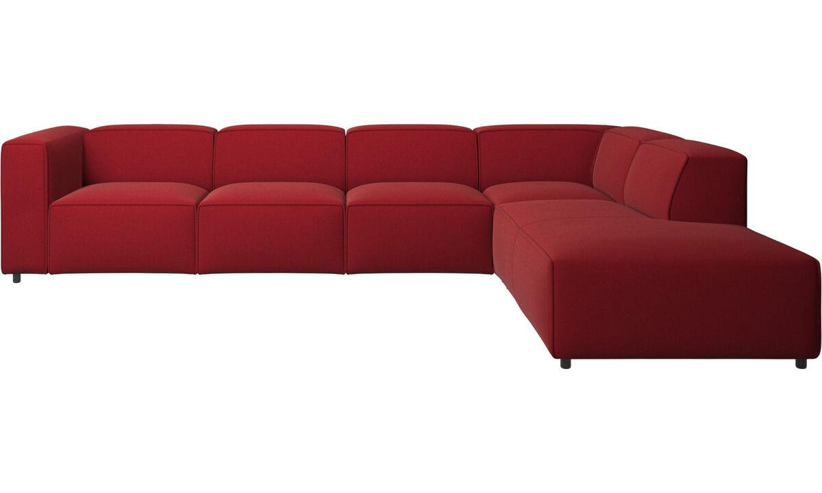 Sofás modulares - Sofá esquinero Carmo con módulo de descanso - Rojo - Tela