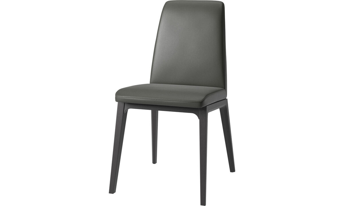 Dining chairs - Lausanne chair - Gray - Leather