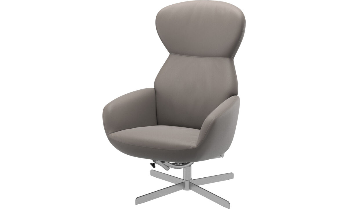 Oak furniture - Athena chair with reclining back function and swivel base - Beige - Leather