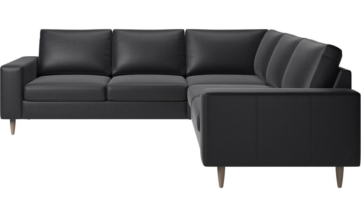 Corner sofas - Indivi 2 corner sofa - Black - Leather