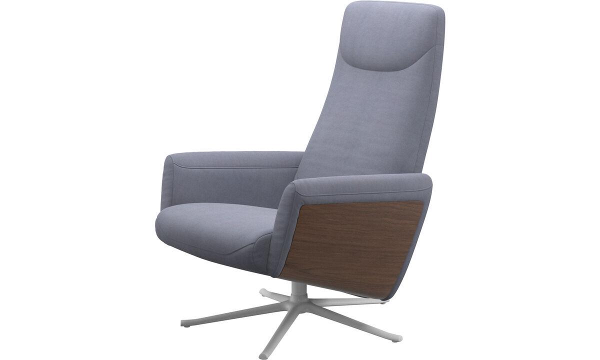 Sillones - butaca reclinable Lucca con función giratoria - En azul - Tela
