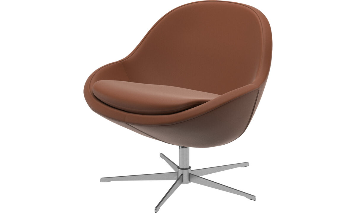 Armchairs and footstools - Veneto chair with swivel function - Brown - Leather