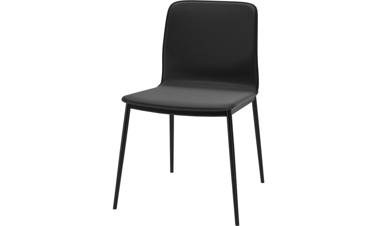 Eetkamerstoelen - Newport eetkamerstoel - Zwart - Leder