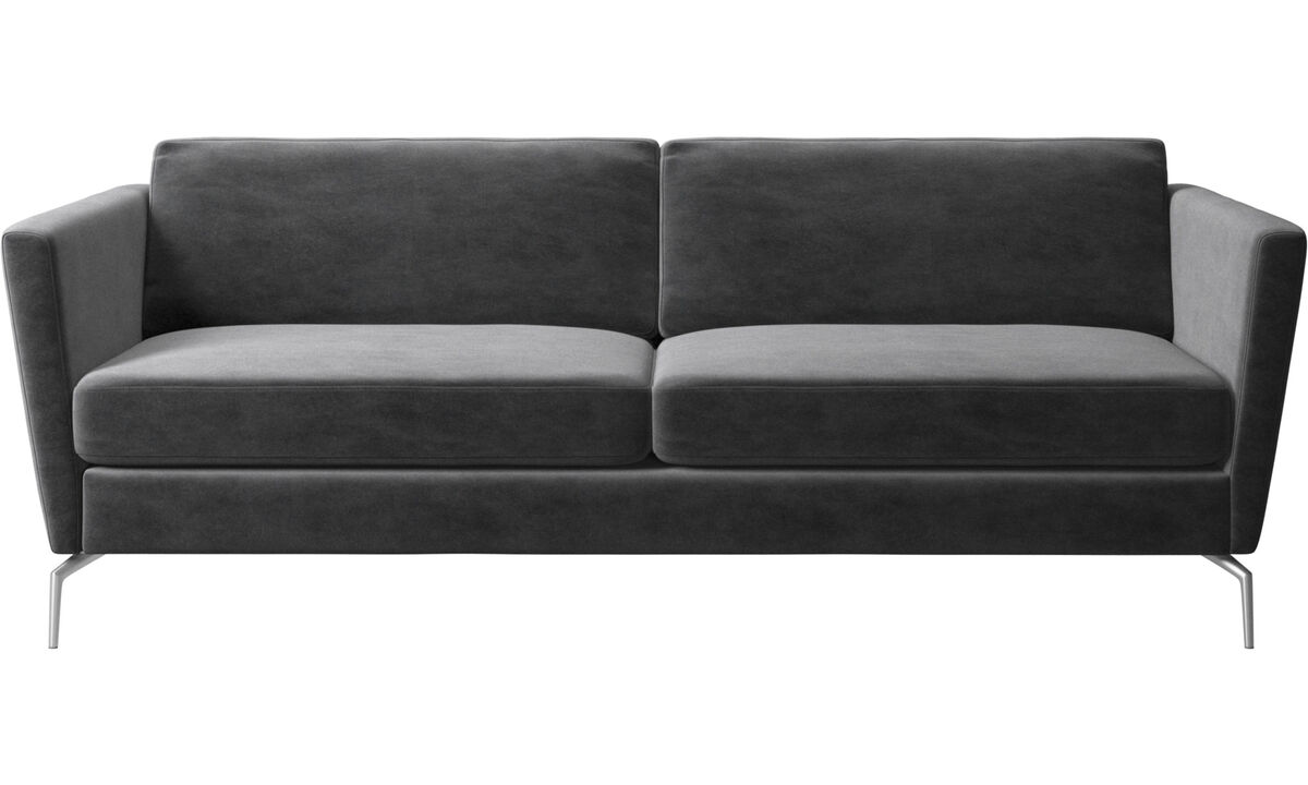 Canapés 2 places et demi - canapé Osaka, assise classique - Gris - Tissu