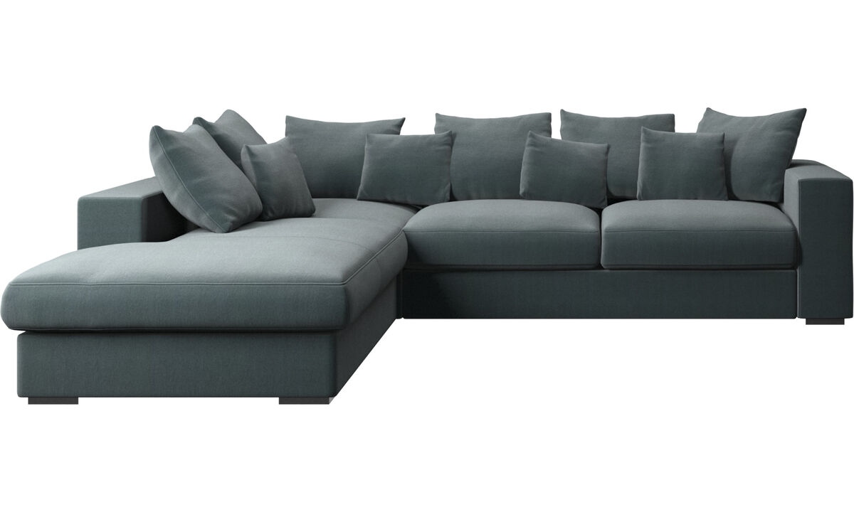Sofas with open end - Cenova sofa with lounging unit - Blue - Fabric
